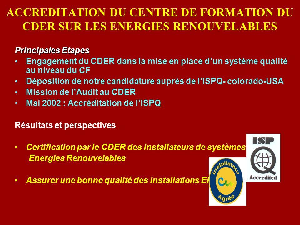 ACCREDITATION DU CENTRE DE FORMATION DU CDER SUR LES ENERGIES RENOUVELABLES