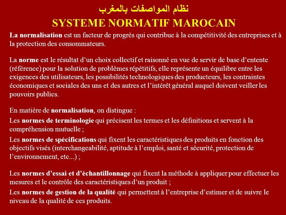 نظام المواصفات بالمغرب SYSTEME NORMATIF MAROCAIN