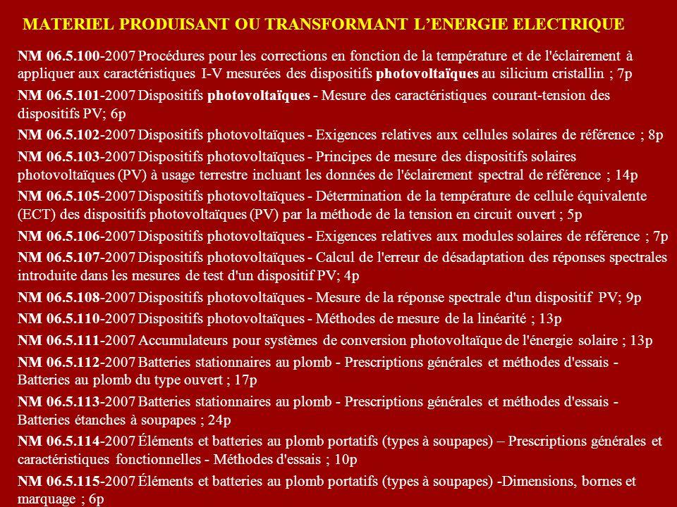 MATERIEL PRODUISANT OU TRANSFORMANT L'ENERGIE ELECTRIQUE
