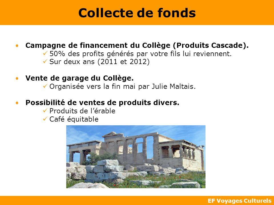 Collecte de fonds Campagne de financement du Collège (Produits Cascade). 50% des profits générés par votre fils lui reviennent.
