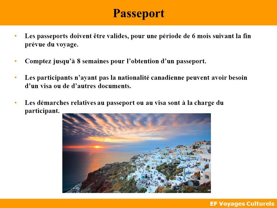 Passeport Les passeports doivent être valides, pour une période de 6 mois suivant la fin prévue du voyage.