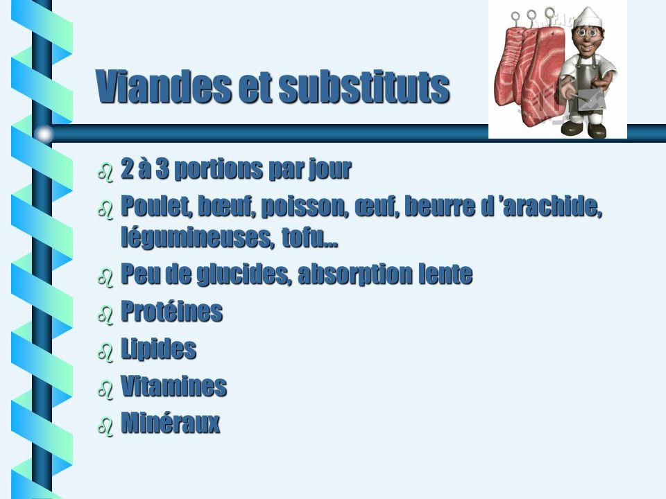 Viandes et substituts 2 à 3 portions par jour