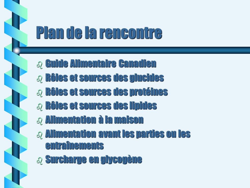 Plan de la rencontre Guide Alimentaire Canadien
