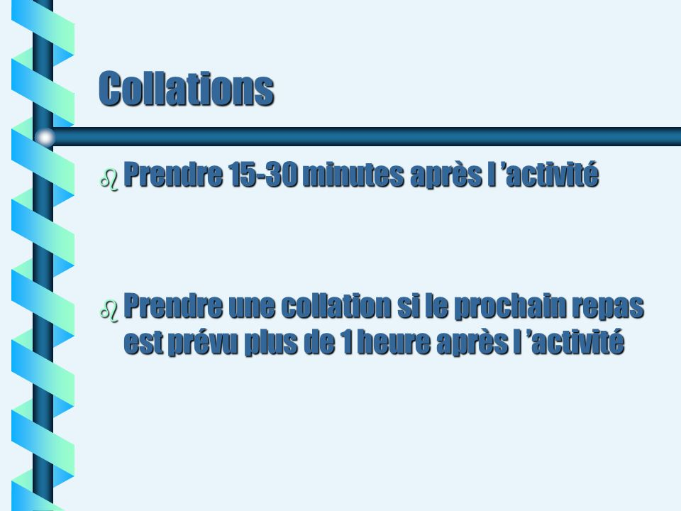 Collations Prendre 15-30 minutes après l 'activité