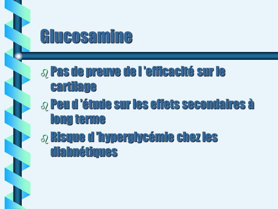 Glucosamine Pas de preuve de l 'efficacité sur le cartilage