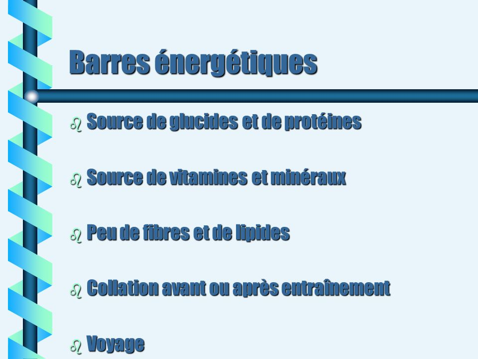 Barres énergétiques Source de glucides et de protéines