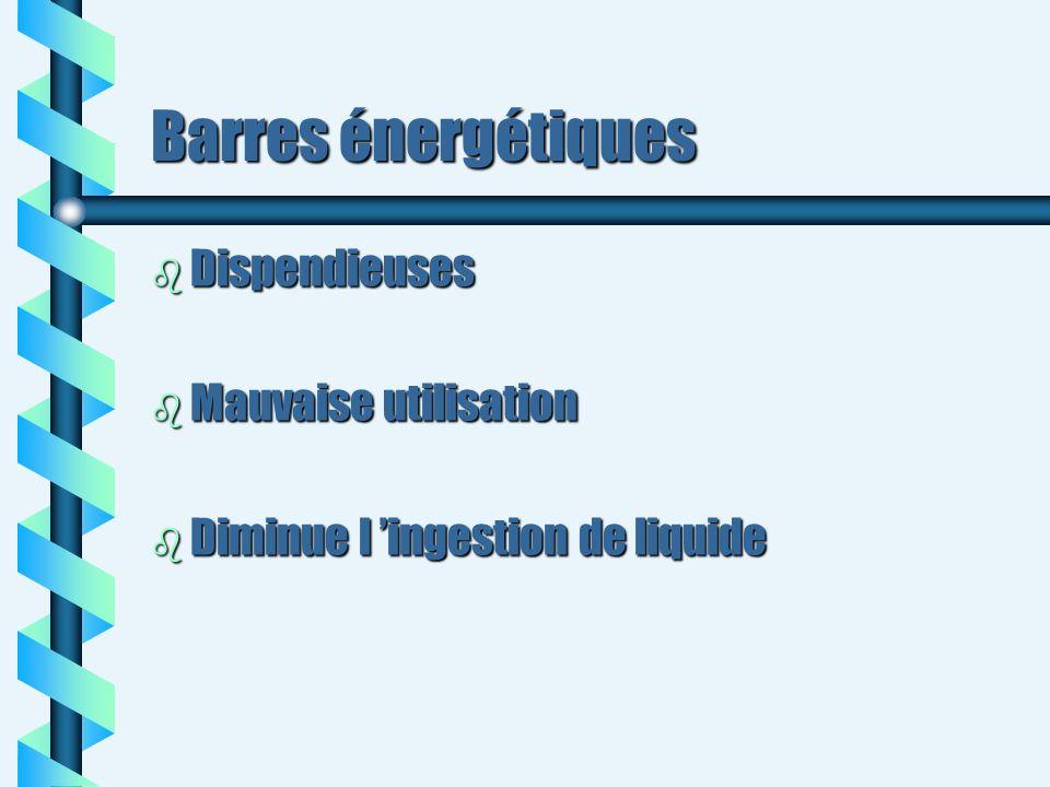 Barres énergétiques Dispendieuses Mauvaise utilisation