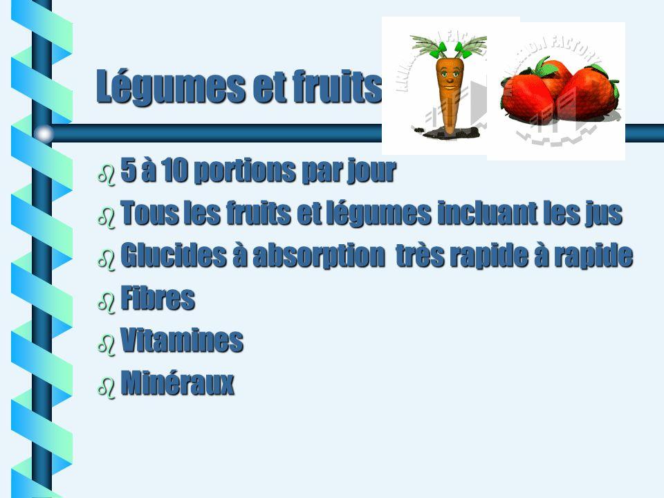 Légumes et fruits 5 à 10 portions par jour