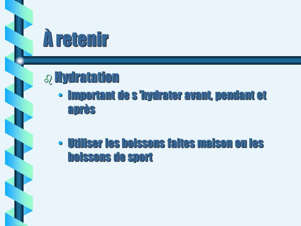 À retenir Hydratation Important de s 'hydrater avant, pendant et après