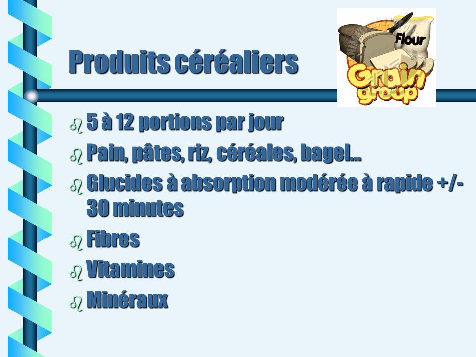 Produits céréaliers 5 à 12 portions par jour