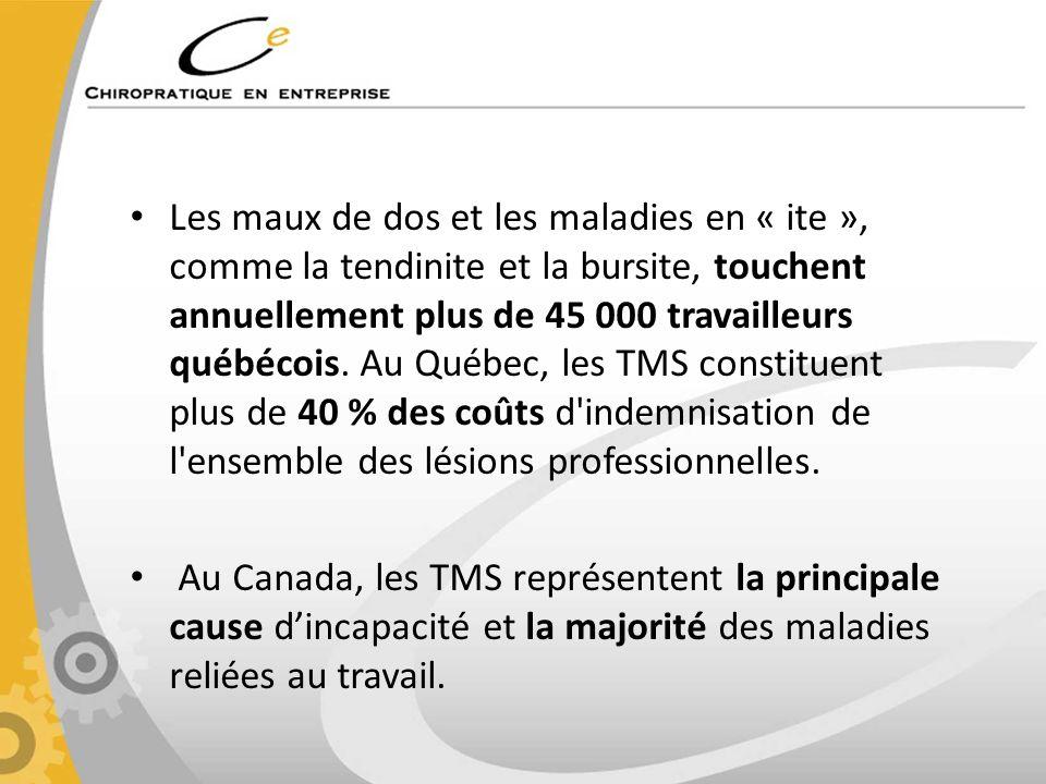 Les maux de dos et les maladies en « ite », comme la tendinite et la bursite, touchent annuellement plus de 45 000 travailleurs québécois. Au Québec, les TMS constituent plus de 40 % des coûts d indemnisation de l ensemble des lésions professionnelles.