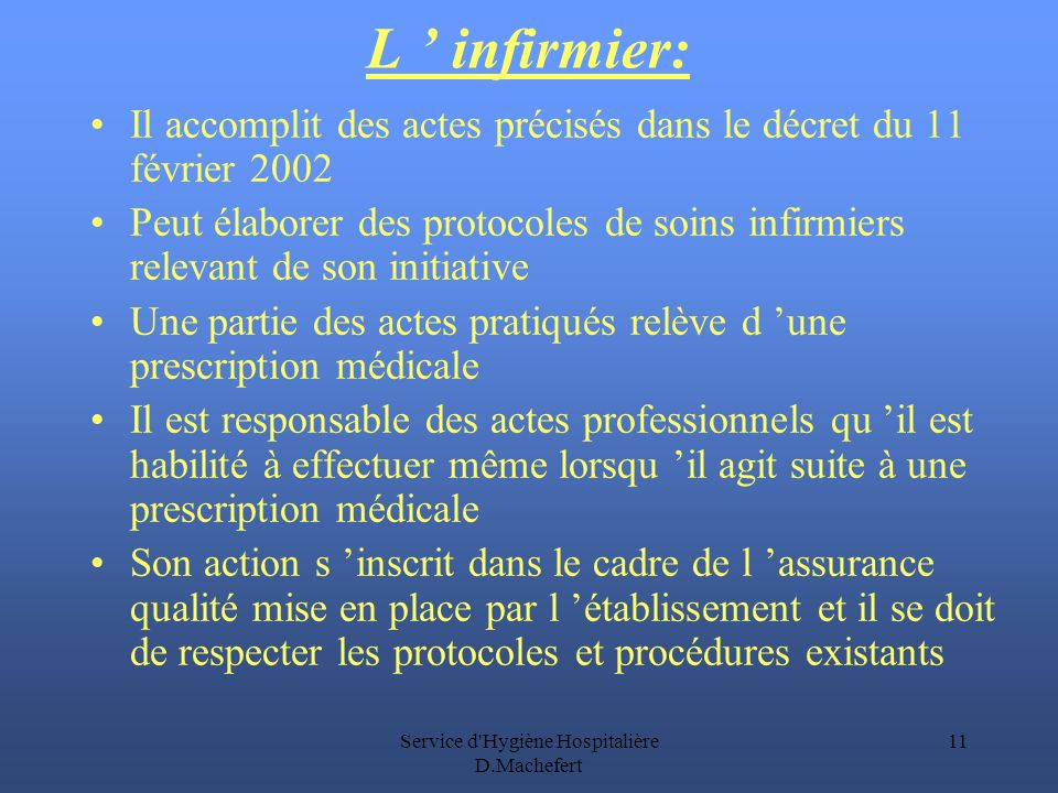 Service d Hygiène Hospitalière D.Machefert