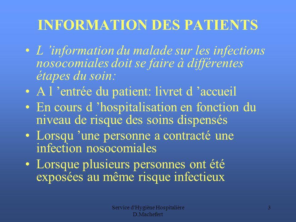 INFORMATION DES PATIENTS