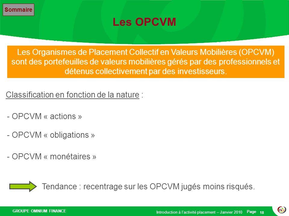 Les OPCVM Sommaire.