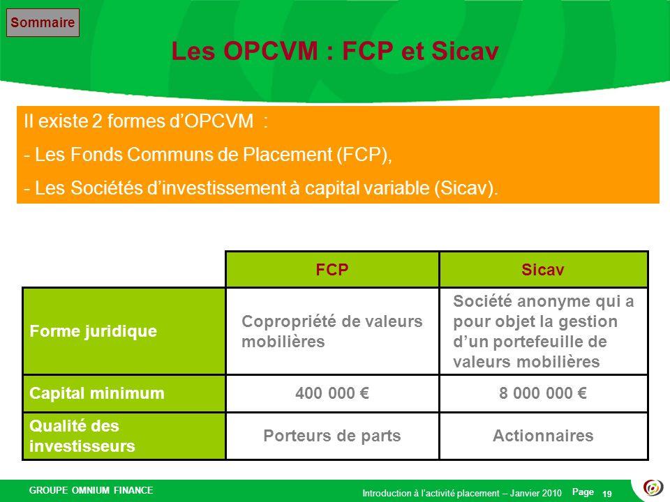 Les OPCVM : FCP et Sicav Il existe 2 formes d'OPCVM :