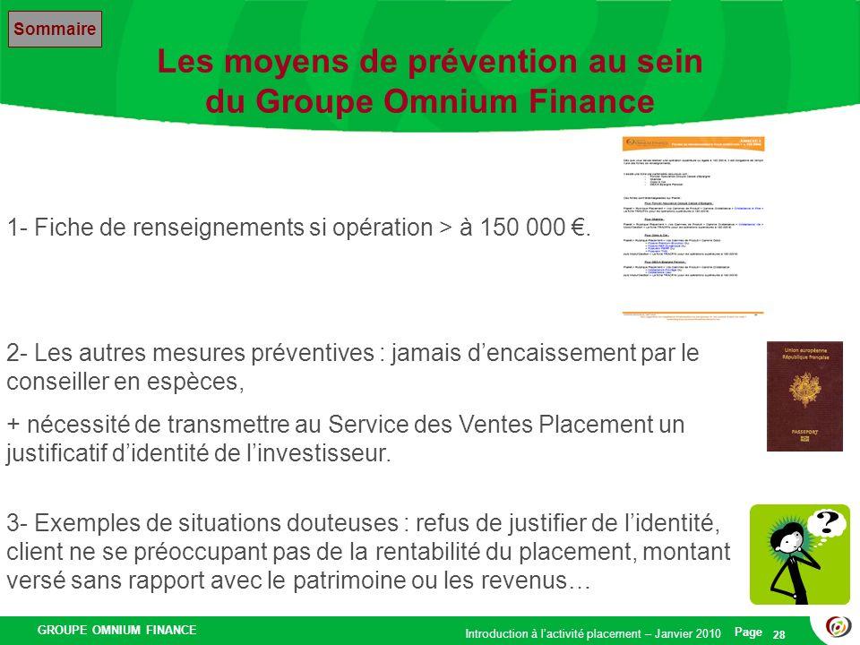 Les moyens de prévention au sein du Groupe Omnium Finance