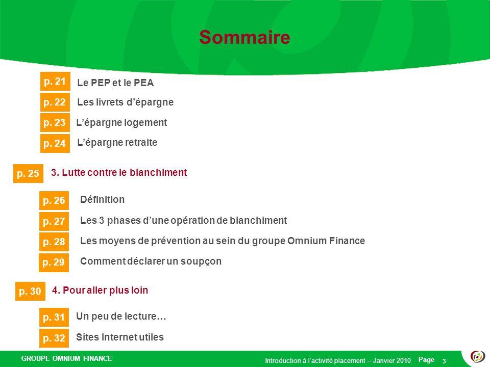 Sommaire p. 21 Le PEP et le PEA p. 22 Les livrets d'épargne p. 23