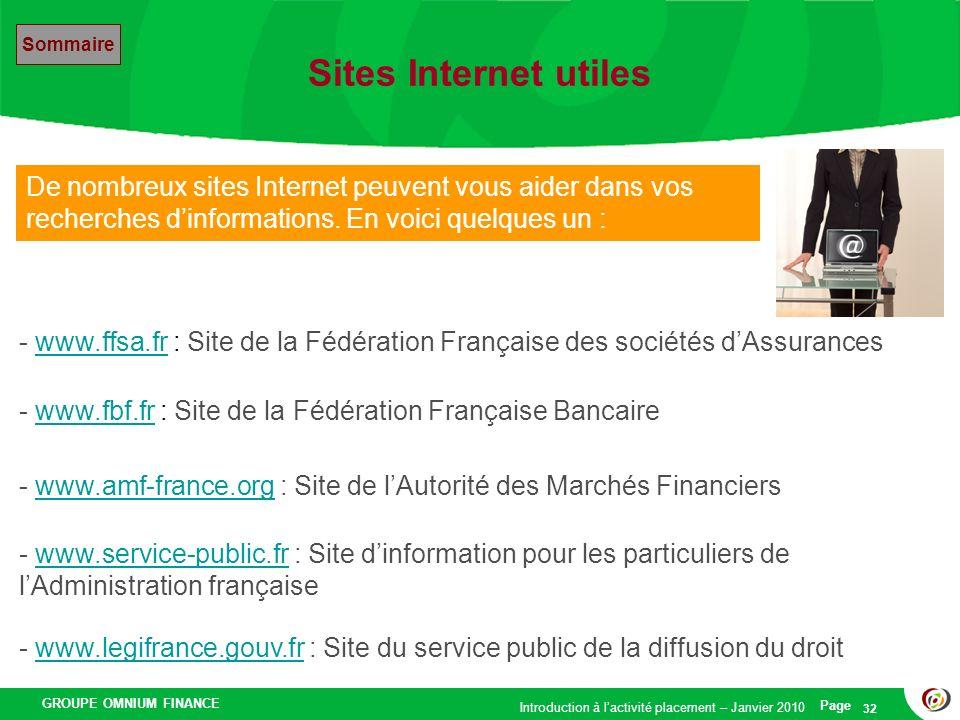 Sites Internet utiles Sommaire. De nombreux sites Internet peuvent vous aider dans vos recherches d'informations. En voici quelques un :