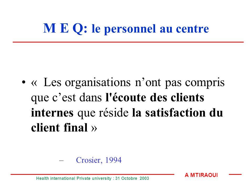 M E Q: le personnel au centre