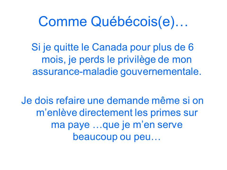 Comme Québécois(e)…Si je quitte le Canada pour plus de 6 mois, je perds le privilège de mon assurance-maladie gouvernementale.