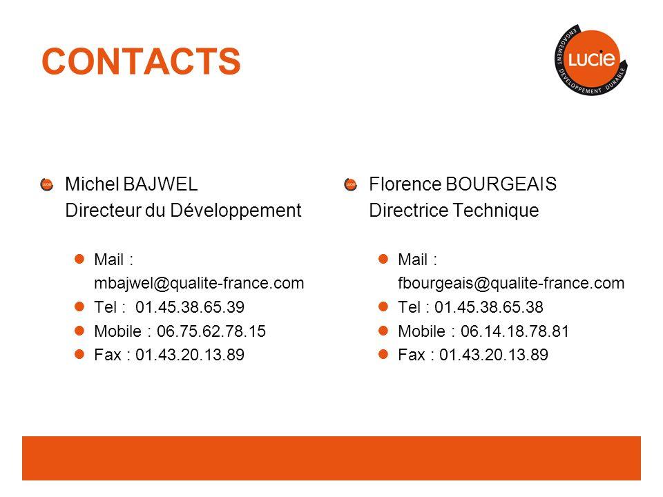 CONTACTS Michel BAJWEL Directeur du Développement Florence BOURGEAIS