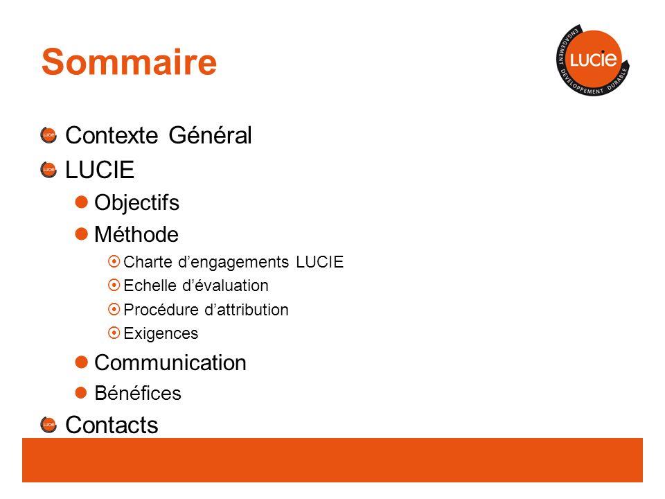 Sommaire Contexte Général LUCIE Contacts Objectifs Méthode