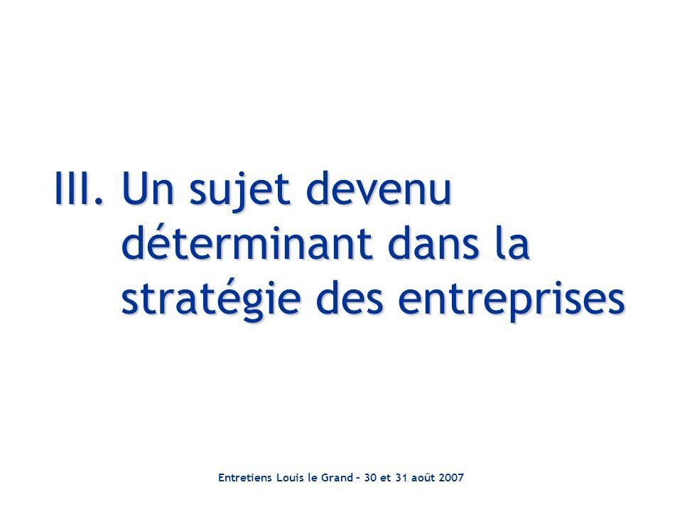 III. Un sujet devenu déterminant dans la stratégie des entreprises