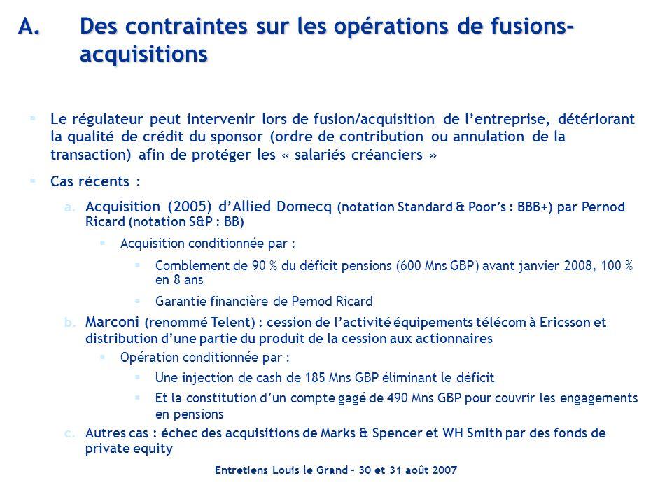 A. Des contraintes sur les opérations de fusions-acquisitions