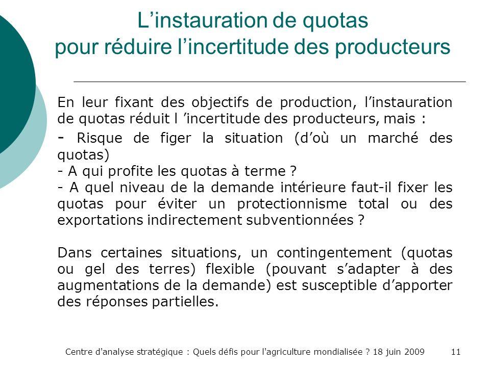 L'instauration de quotas pour réduire l'incertitude des producteurs