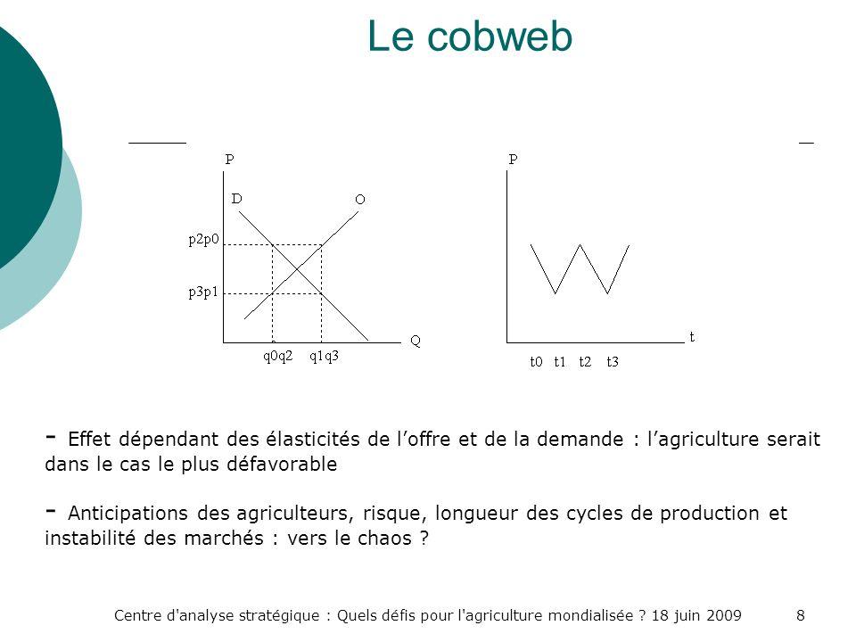 Le cobweb - Effet dépendant des élasticités de l'offre et de la demande : l'agriculture serait dans le cas le plus défavorable.
