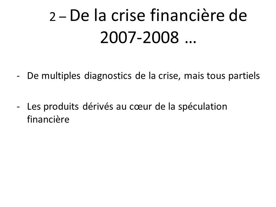 2 – De la crise financière de 2007-2008 …