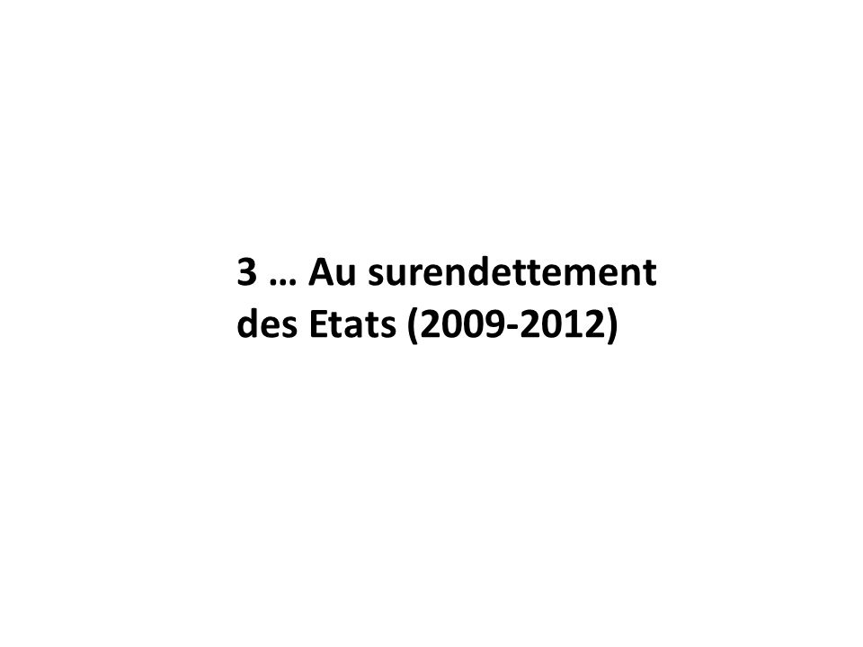 3 … Au surendettement des Etats (2009-2012)