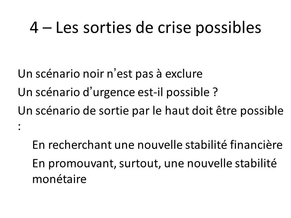 4 – Les sorties de crise possibles