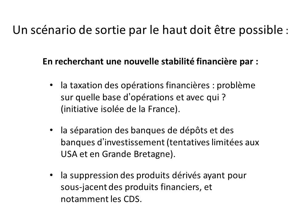 Un scénario de sortie par le haut doit être possible : En recherchant une nouvelle stabilité financière par :