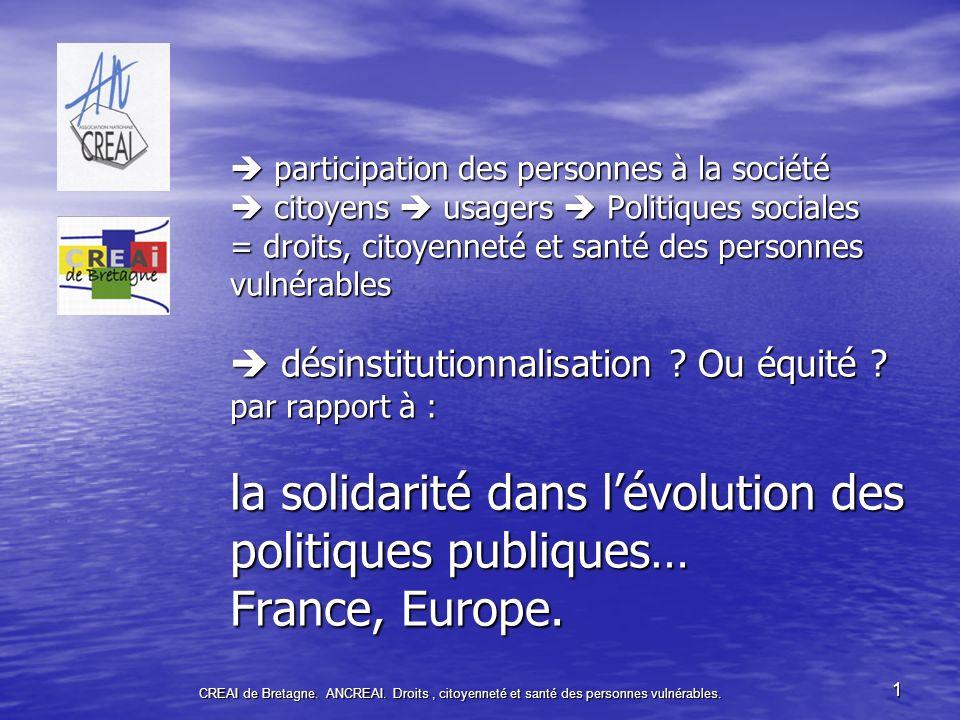  participation des personnes à la société  citoyens  usagers  Politiques sociales = droits, citoyenneté et santé des personnes vulnérables  désinstitutionnalisation Ou équité par rapport à : la solidarité dans l'évolution des politiques publiques… France, Europe.
