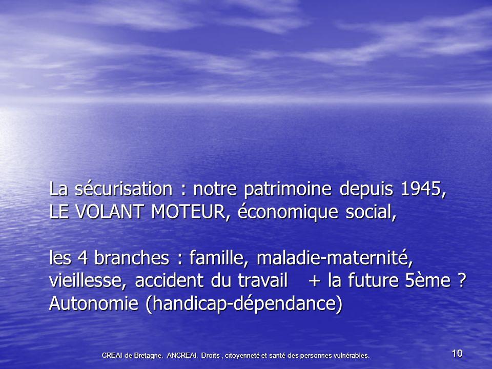 La sécurisation : notre patrimoine depuis 1945, LE VOLANT MOTEUR, économique social, les 4 branches : famille, maladie-maternité, vieillesse, accident du travail + la future 5ème Autonomie (handicap-dépendance)