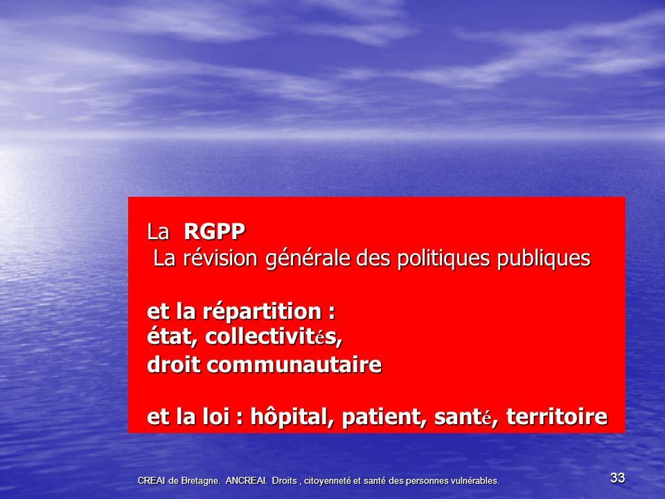 La RGPP La révision générale des politiques publiques et la répartition : état, collectivités, droit communautaire et la loi : hôpital, patient, santé, territoire