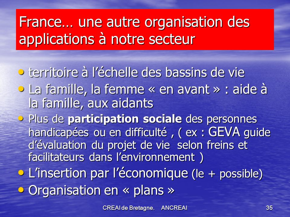 France… une autre organisation des applications à notre secteur