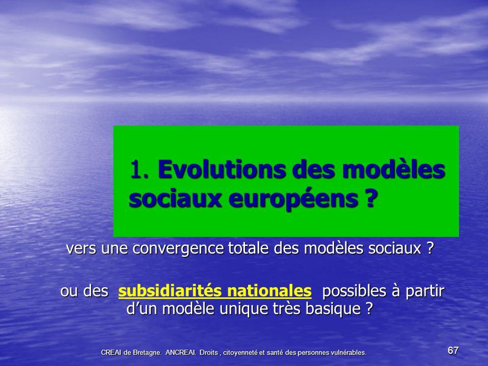 1. Evolutions des modèles sociaux européens