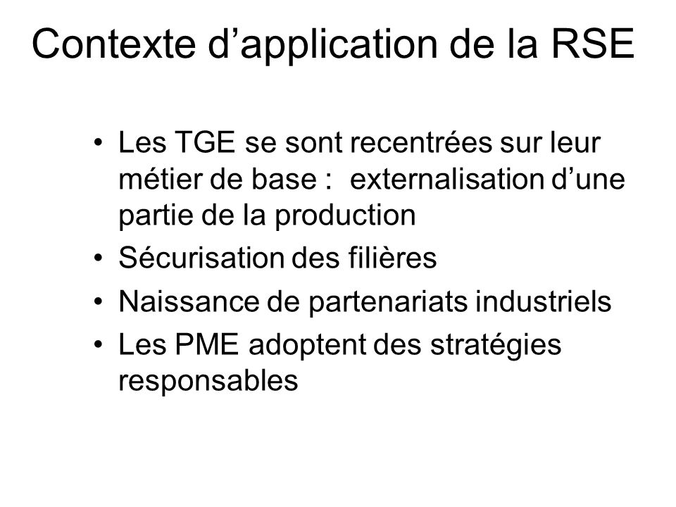 Contexte d'application de la RSE