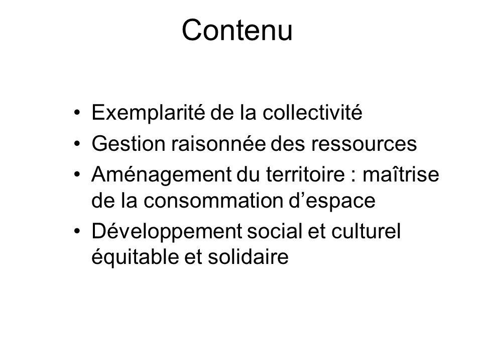 Contenu Exemplarité de la collectivité