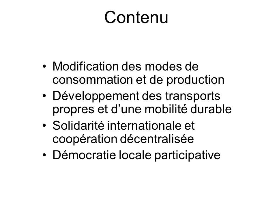 Contenu Modification des modes de consommation et de production