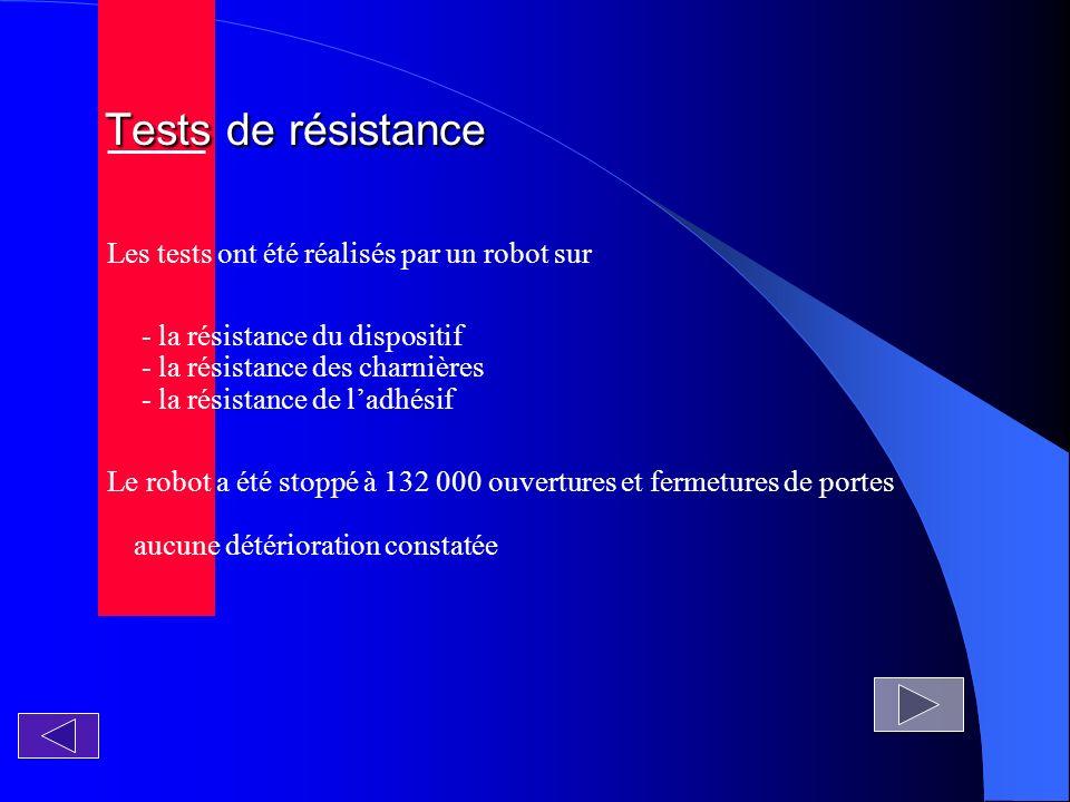 Tests de résistance Les tests ont été réalisés par un robot sur
