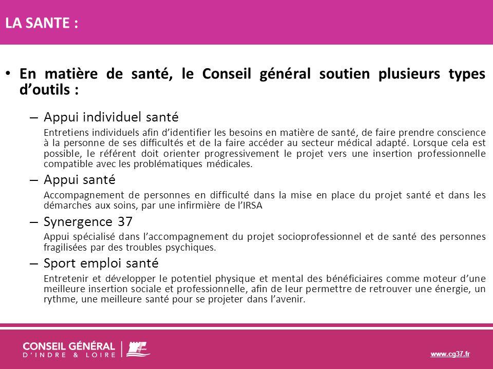 LA SANTE : En matière de santé, le Conseil général soutien plusieurs types d'outils : Appui individuel santé.