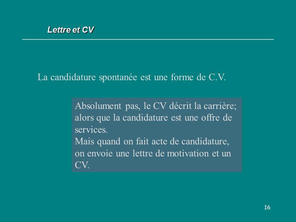 La candidature spontanée est une forme de C.V.
