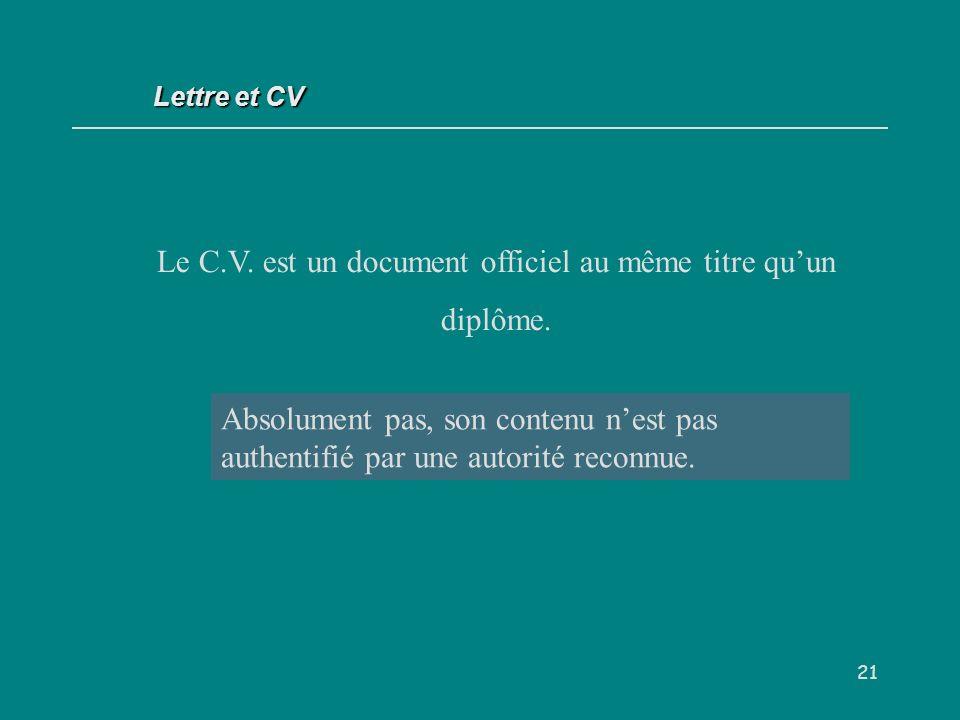 Le C.V. est un document officiel au même titre qu'un diplôme.