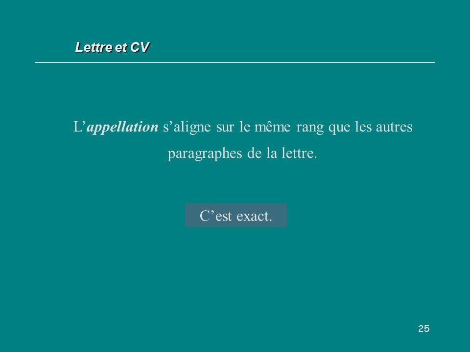 Lettre et CV L'appellation s'aligne sur le même rang que les autres paragraphes de la lettre. V/F.