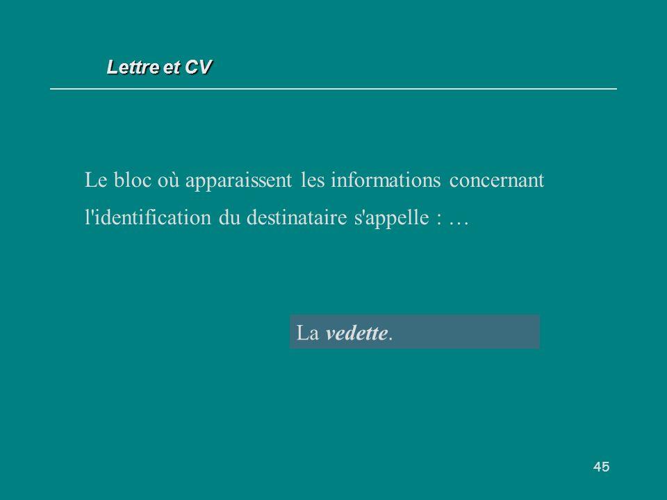 Lettre et CV Le bloc où apparaissent les informations concernant l identification du destinataire s appelle : …