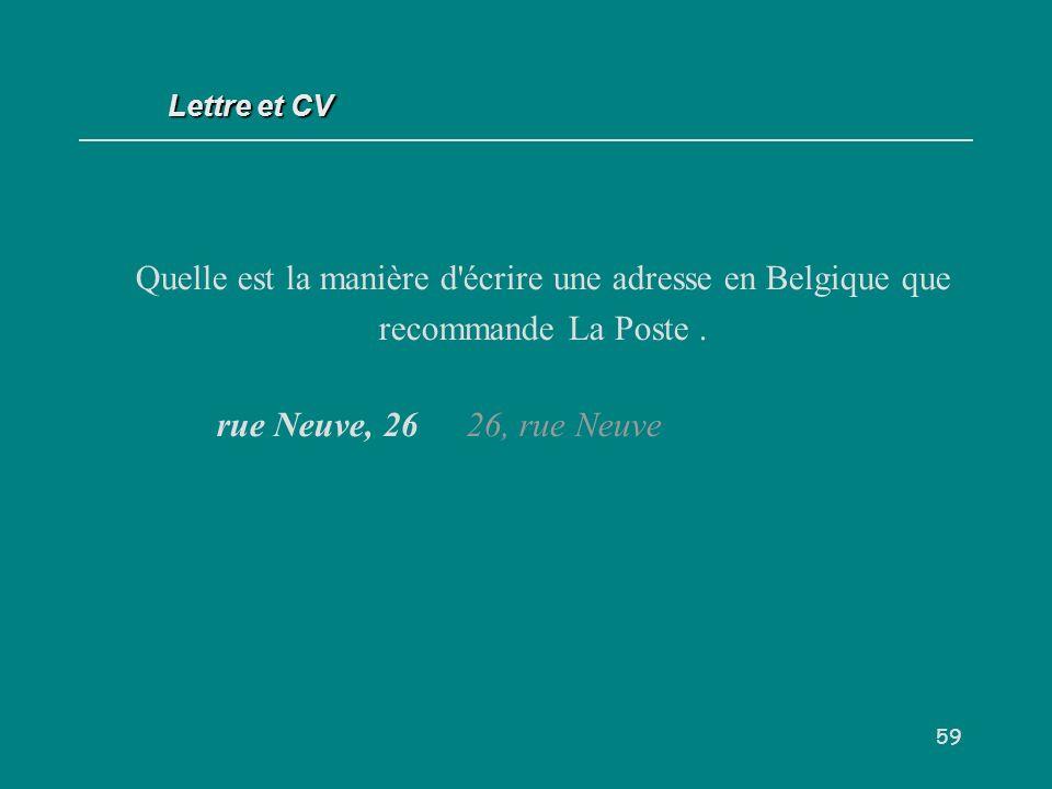 Lettre et CV Quelle est la manière d écrire une adresse en Belgique que recommande La Poste .