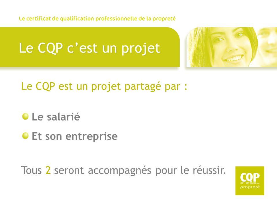 Le CQP c'est un projet Le CQP est un projet partagé par : Le salarié